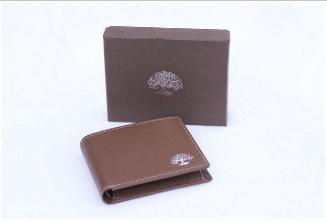 Kožená peňaženka s ochranou osobných údajov BROWN & SILVER
