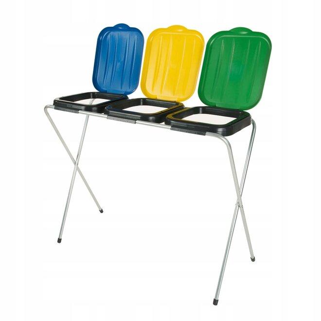 3 x 120 l Stojan na odpadkové sáčky (žltý + modrý + zelený)