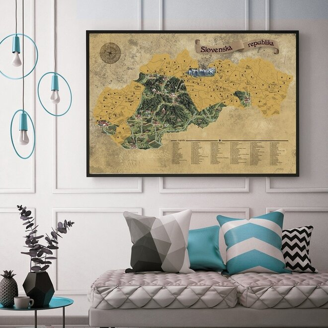 Stieracia mapa Slovenska DELUXE XL (zlatá)