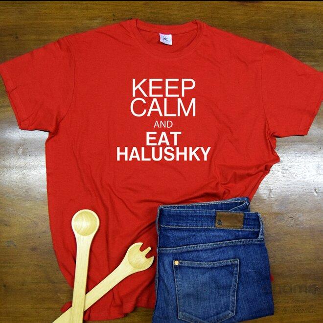 """Pánske tričko """"Keep calm and eat halushky"""""""
