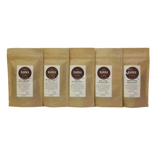 4 x 50 g + 1 x 7 g Kávové degustačné menu Exclusive