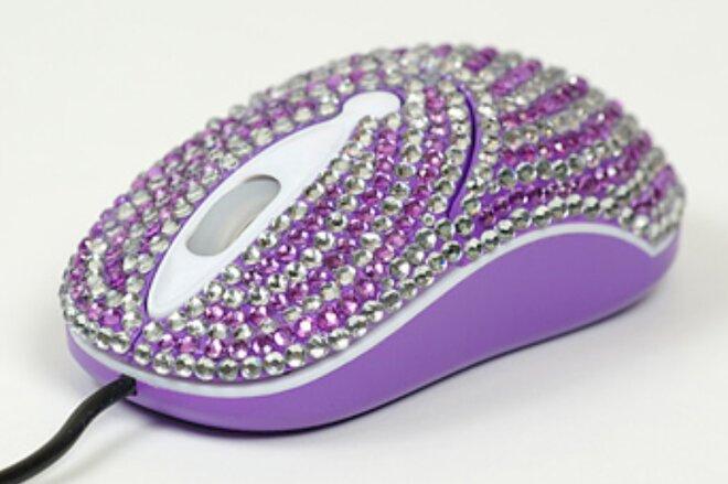 Elegantná myška vykladaná kryštálikmi - Fialová vlnka
