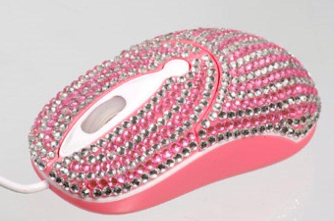 Elegantná myška vykladaná kryštálikmi - Ružová vlnka