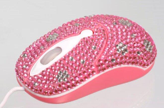 Elegantná myška vykladaná kryštálikmi - Ružová kvetinka