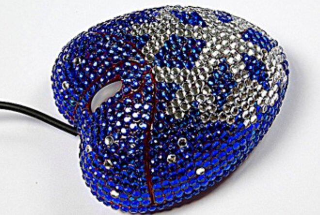 """Elegantná myška vykladaná kryštálikmi """"Srdce vločka"""" - Modrá"""