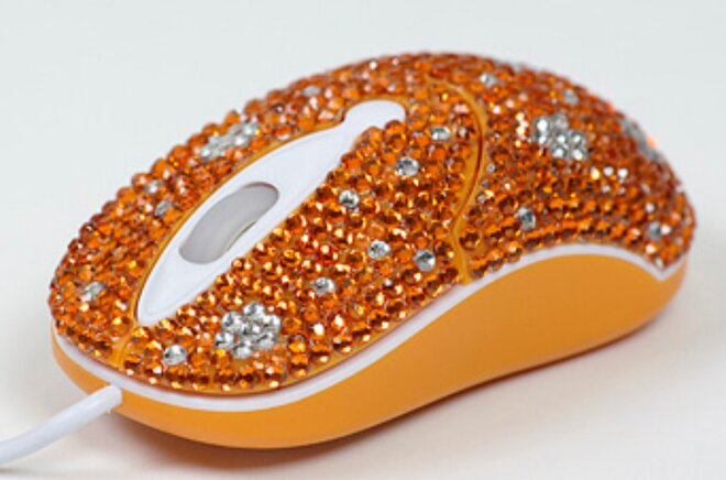 Elegantná myška vykladaná kryštálikmi - Oranžová kvetinka