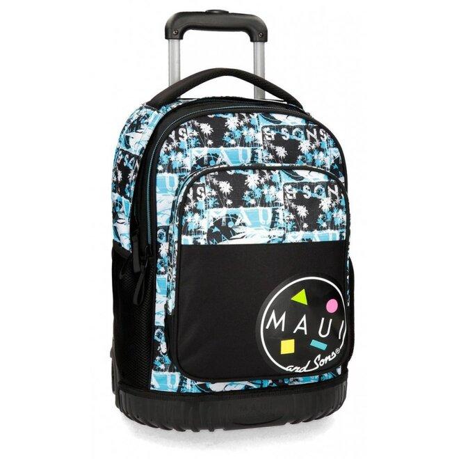 Školský alebo cestovný batoh na kolieskach MAUI BLUE
