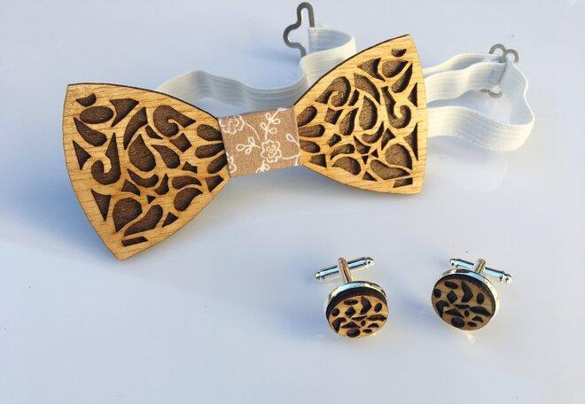 Set: Drevený motýlik + manžetové gombíky (svetlé drevo)