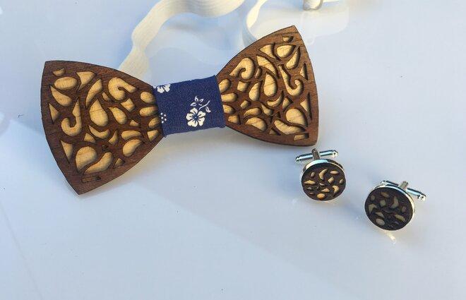 Set: Drevený motýlik + manžetové gombíky (tmavé drevo)