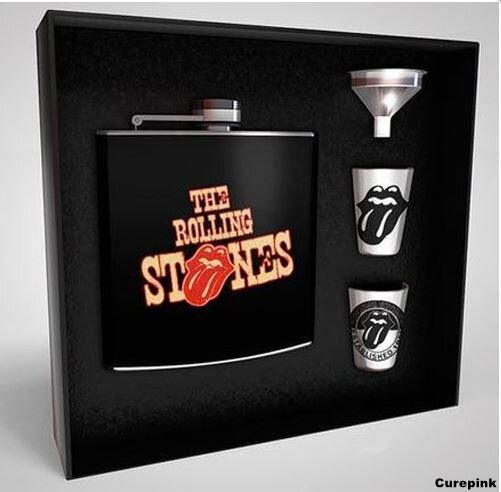 """Darčekový set náprsná fľaša """"ploskačka"""" a 2 poháriky Rollings Stones"""