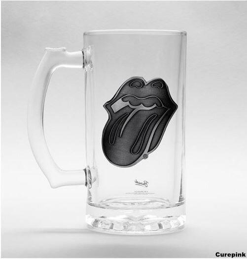 """Sklenený pohár na pivo """"krígeľ"""" s kovovým logom Rolling Stones"""