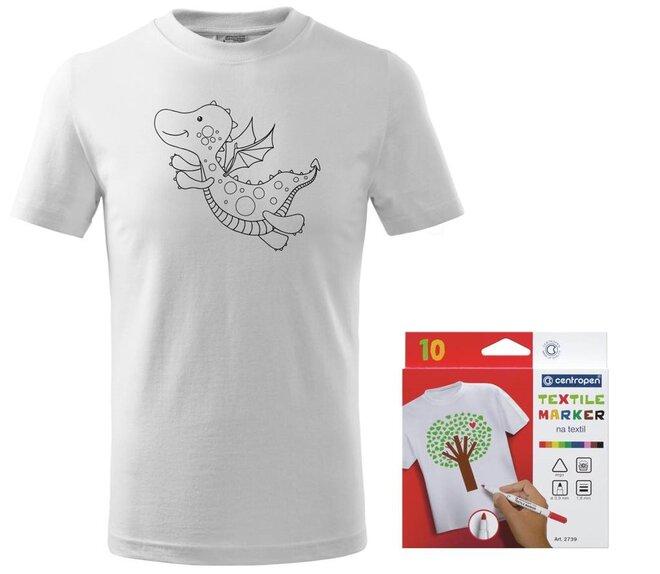 Detské tričko s motívom omaľovánky + sada farebných popisovačov na textil