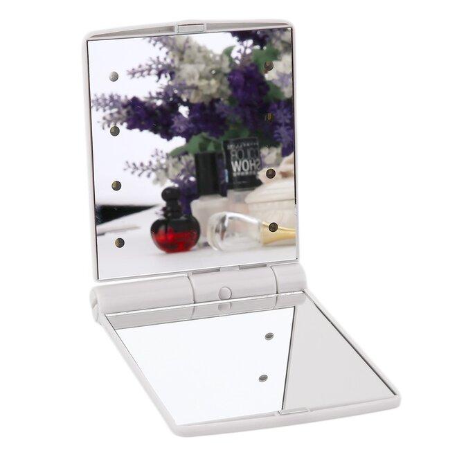 Vreckové zrkadielko s LED osvetlením (biele)