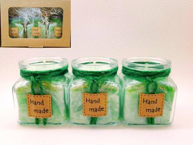 Darčekové balenie ekologických palmových sviečok D09 (zelená)