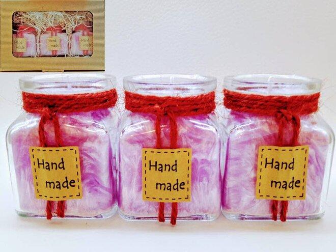 Darčekové balenie ekologických palmových sviečok D09 (ružová)