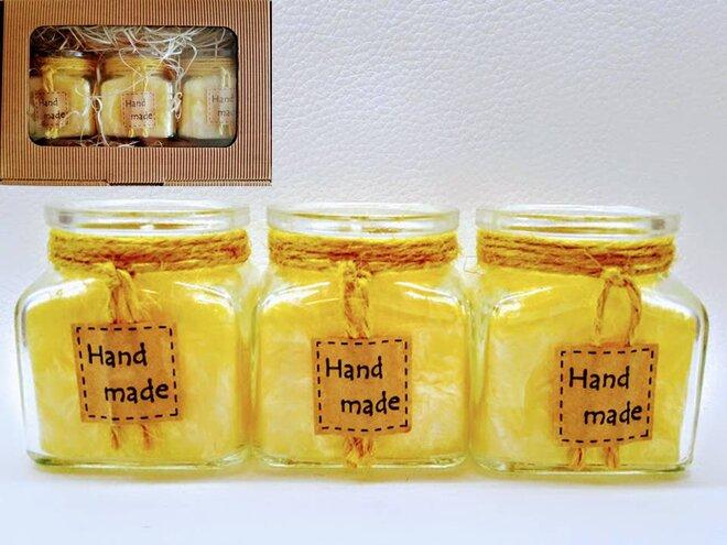 Darčekové balenie ekologických palmových sviečok D09 (žltá)