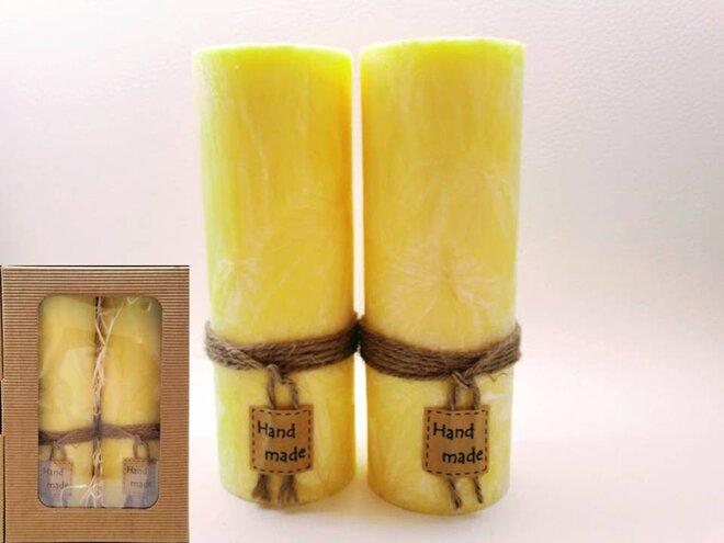 Darčekové balenie ekologických palmových sviečok D01 (žltá)