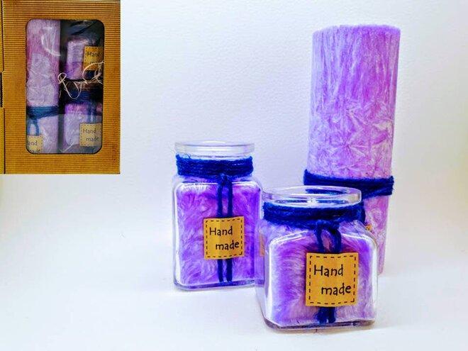 Darčekové balenie ekologických palmových sviečok D11 (fialová)
