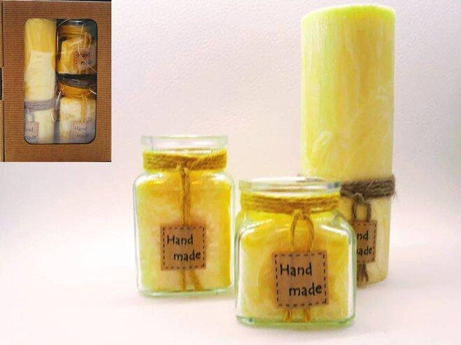 Darčekové balenie ekologických palmových sviečok D11 (žltá)