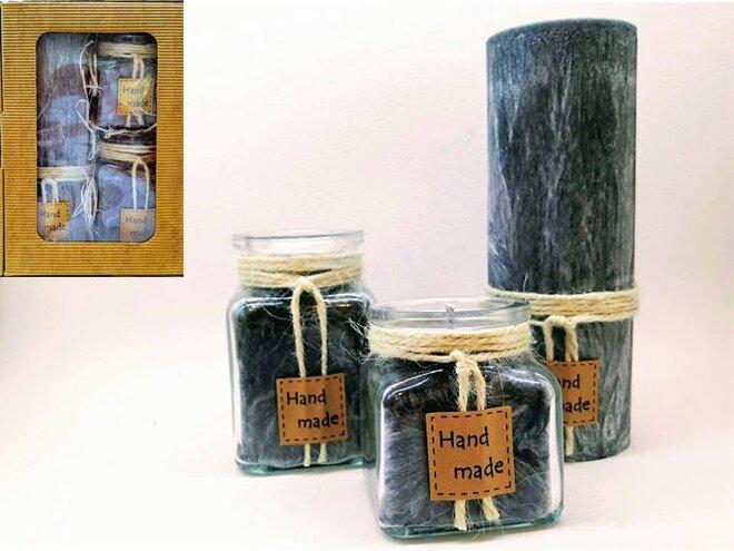 Darčekové balenie ekologických palmových sviečok D11 (antracitová)