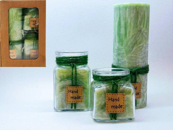 Darčekové balenie ekologických palmových sviečok D11 (zelená)