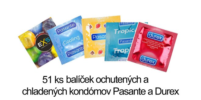51 ks Balíček ochutených a chladených kondómov Pasante a Durex