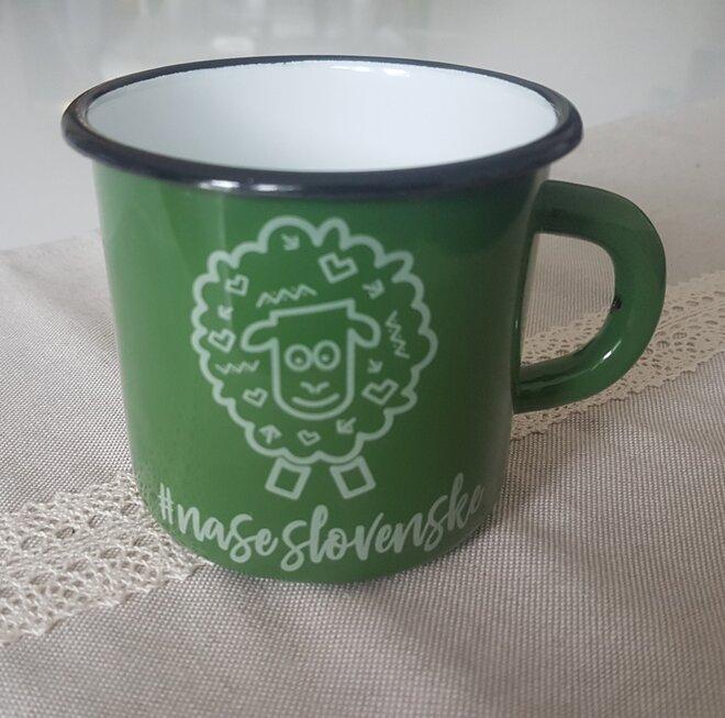 """300 ml Plechový hrnček """"Folklórna ovečka"""" (zelený)"""