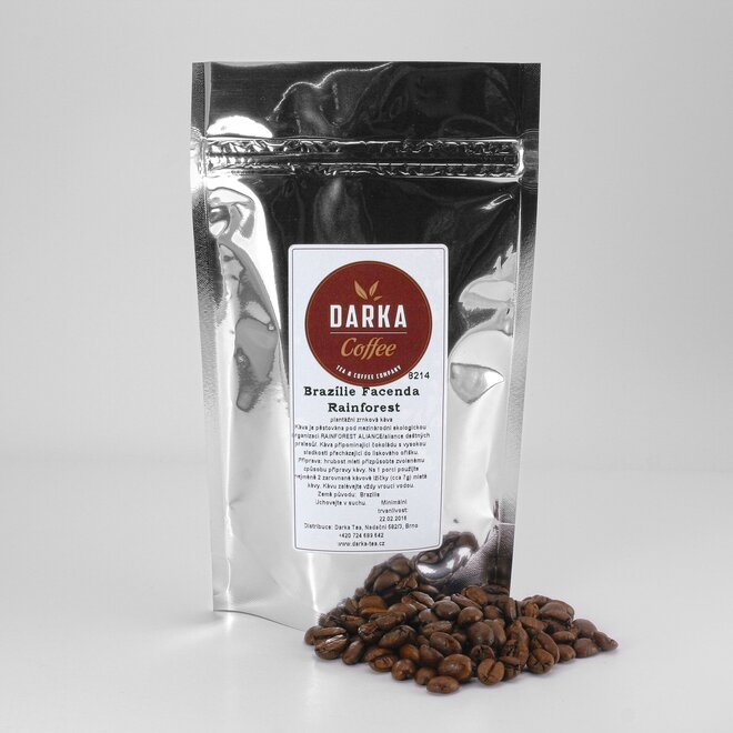 250 g Káva Brazilia Facenda Rainforest Organic (zrnková)