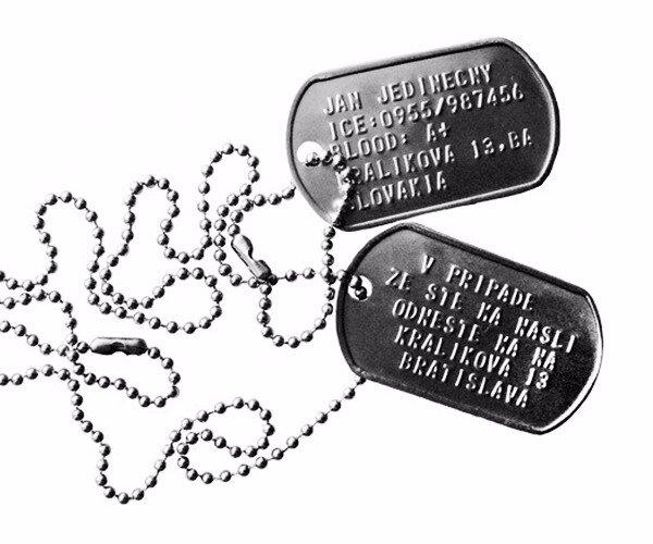 Identifikačná vojenská známka Dog tag s retiazkou (dvojička)