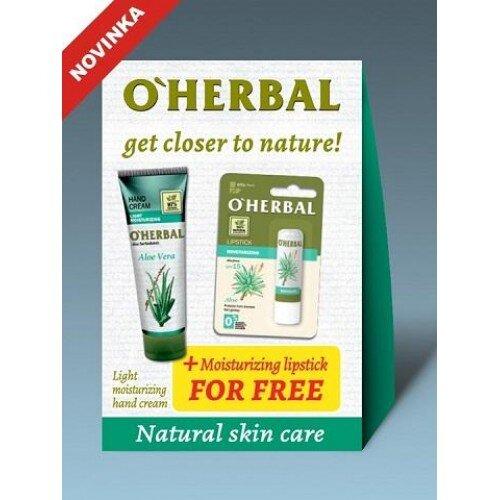O'Herbal Aloe Vera set 1+1: Krém na ruky + Balzam na pery Aloe vera