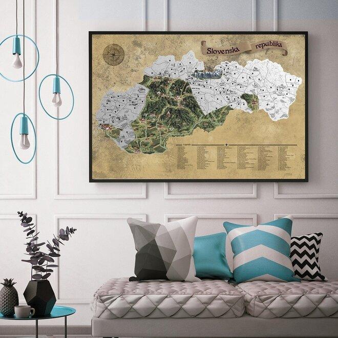 Stieracia mapa Slovenska DELUXE XL (strieborná)