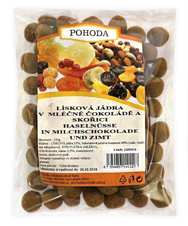 250 g Lieskové jadrá so škoricou v mliečnej čokoláde