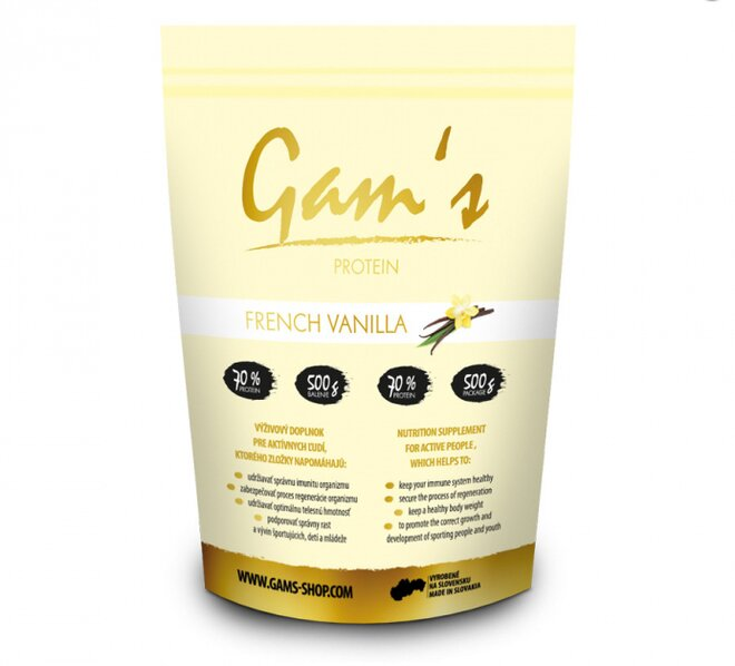 1 x 500 g Proteín Gam´s francúzka vanilka + darček 1 x 55 g proteínová tyčinka