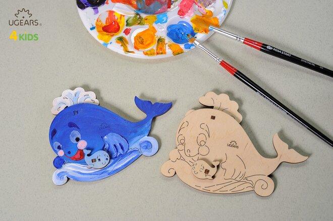 Drevené 3D vyfarbovacie puzzle (veľryba s mláďatkom)