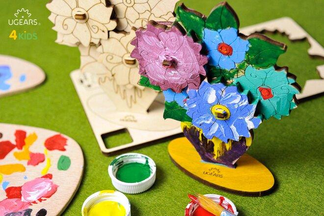 Drevené 3D vyfarbovacie puzzle (kytica kvetov)