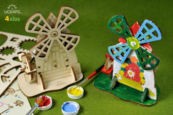 Drevené 3D vyfarbovacie puzzle (mlyn)