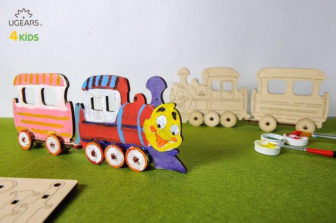 Drevené 3D vyfarbovacie puzzle (vláčik)