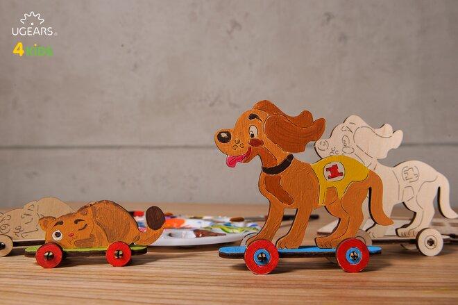 Drevené 3D vyfarbovacie puzzle (psík s mačičkou)
