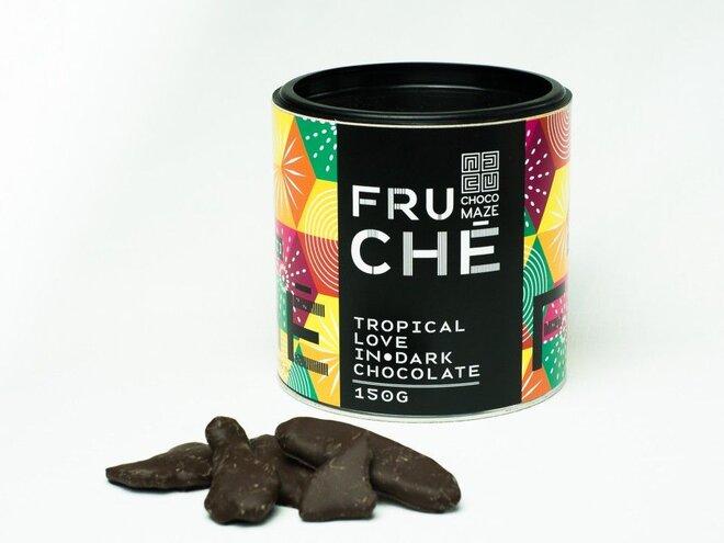150 g Chrumkavé mrazom sušené tropické ovocie v horkej čokoláde FRUCHÉT TROPICAL LOVE