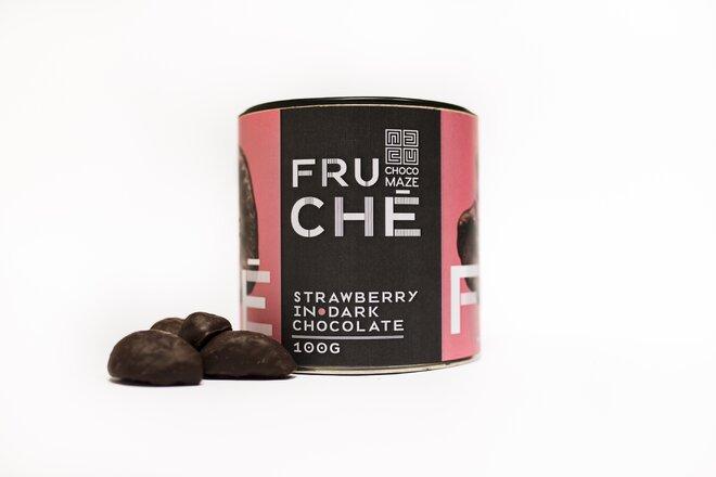 100 g Chrumkavé mrazom sušené jahody v horkej čokoláde FRUCHÉ JAHODA