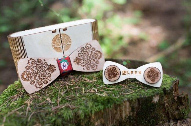 SET: Drevený motýlik + manžetové gombíky MM2