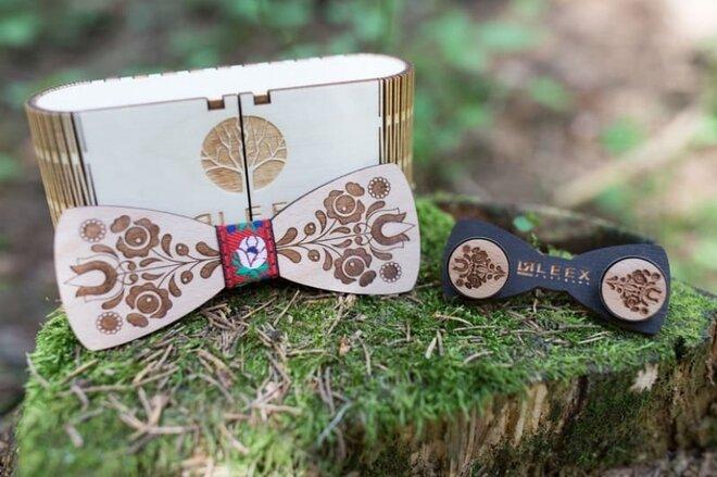 SET: Drevený motýlik + manžetové gombíky MM7