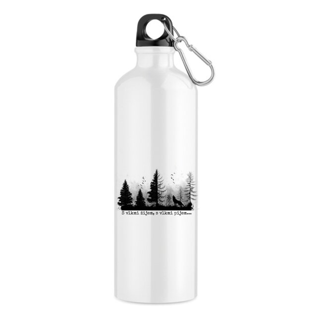 "550 ml Turistická fľaša ""S vlkmi žijem, s vlkmi pijem"""