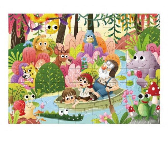 Drevené puzzle s detským motívom (dažďový prales)