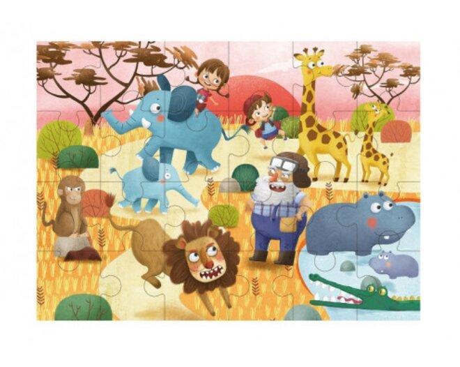 Drevené puzzle s detským motívom (svet džungle)