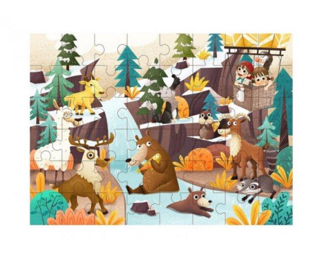 Drevené puzzle s detským motívom (puzzle na horách)