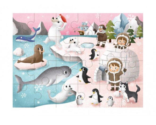 Drevené puzzle s detským motívom (zimná krajina)