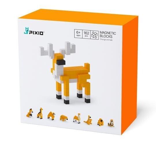 "Magnetická stavebnica Pixio ""Orange Animals"" (162 kociek)"
