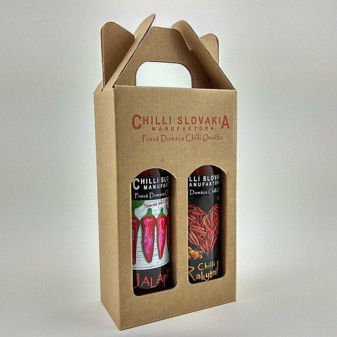 2 x 100 ml Darčekové balenie chilli omáčok (hnedé balenie / Mild hot jemne pálivé)