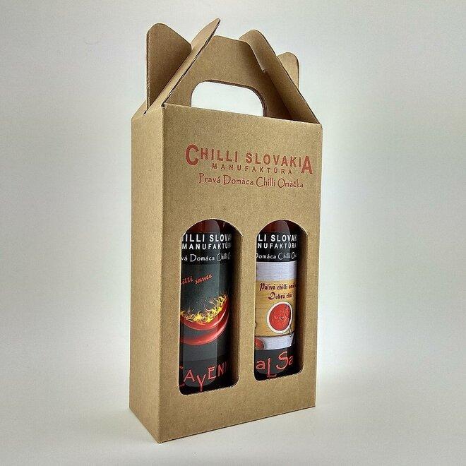 2 x 100 ml Darčekové balenie chilli omáčok (hnedé balenie /Medium hot stredne pálivé)